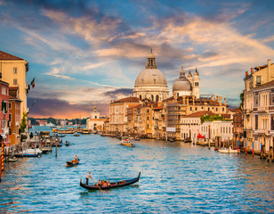 Printed roller blinds Channel Canal Grande with Santa Maria Della Salute at sunset, Venice, Italy
