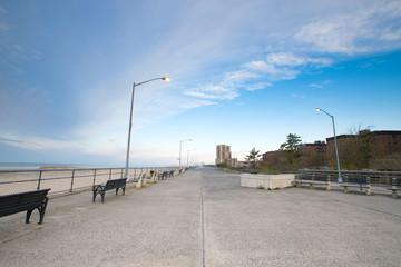 Empty ocean promenade of New York