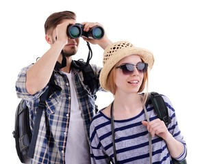 Pair of travelers with binoculars isolated on white