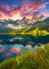 Colorful summer sunrise on the Vorderer Gosausee lake