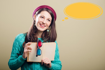 Young lady with book and 3d glasses at speech bubble