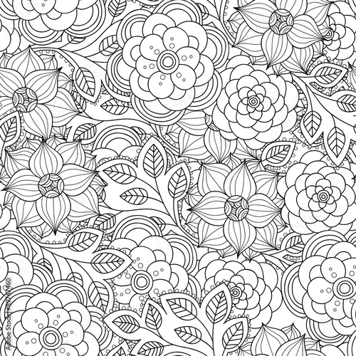 Floral seamless pattern  Zentangle doodle background  Black