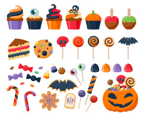 Halloween party colorful sweets  icons set vector illustration.