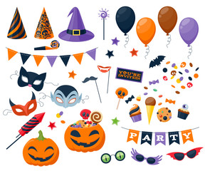 Halloween party colorful icons set vector illustration.