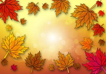 Yellow maple leaf on autumn background