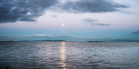 Moonlit Night on the Amur River.  The Russian Far East.