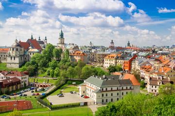 Panorama starego miasta w mieście Lublin, Polska