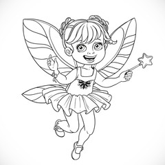 Cute little fairy girl with a Magic wand  outlined isolated on a