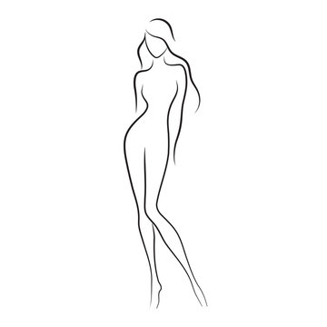 Silhouette of beautiful nude woman vector illustration. Fashion girl with long hair isolated. Beauty logo.