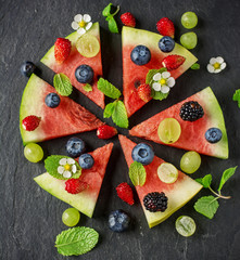 Fruit watermelon pizza with fresh berries