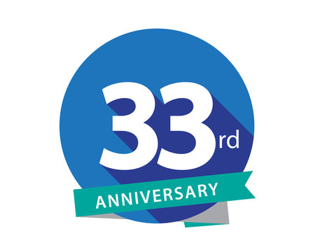 33 Anniversary Blue Circle Logo