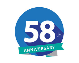 58 Anniversary Blue Circle Logo