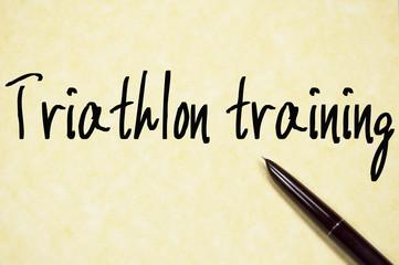 triathlon training text write on paper