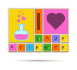 I Love Science chemistry theme banner with periodic table elemen