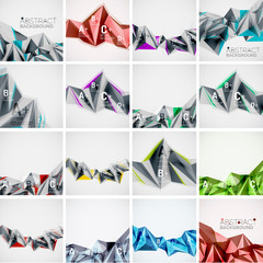 Set of triangle geometric 3d forms. Modern info banner abstract