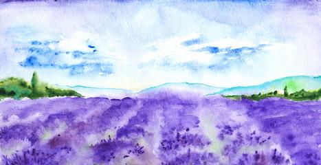 Tuinposter Wit Watercolor lavender fields France Provence landscape