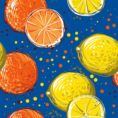 Lemons and oranges are hand-drawn. Vector seamless pattern