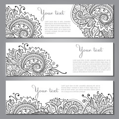 Three vector banners with beautiful monochrome floral pattern
