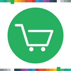 Flat shopping cart icon.