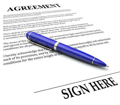 Agreement Pen Signing Signature Line Legal Document