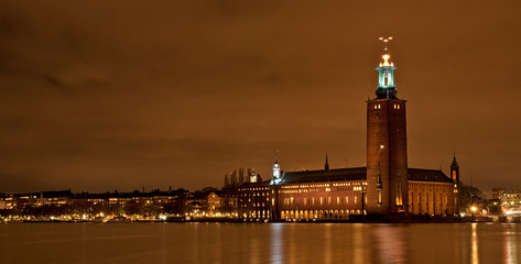Scenic night view of the City Hall in the Old Town in Stockholm, Sweden