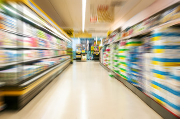 Supermarket with motion blur