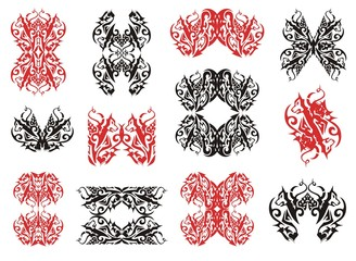 Tribal wolf symbols and wolf frames. Red and black on the white
