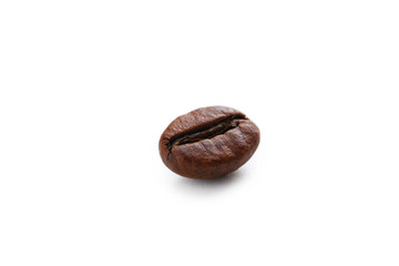 Roasted coffee bean isolated on a white