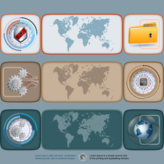 Abstract graphic, design web banner/header; Set of banners with world map and security shield/folder, processor chip/gear, cogwheels/Earth globe