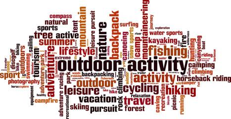 Outdoor activity word cloud concept. Vector illustration