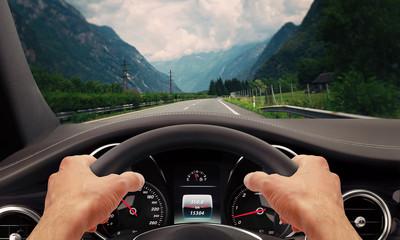 Driving hands steering wheel  Wall mural