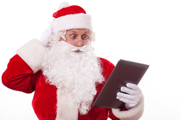 Gorgeous Santa Claus is acknowledging with modern technology