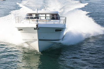 Fast motor boat approaching