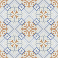 Old ceramic tiles patterns in the park public