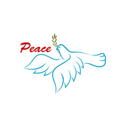 Bird of peace with green olive branch