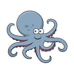 Blue octopus with curved tentacles