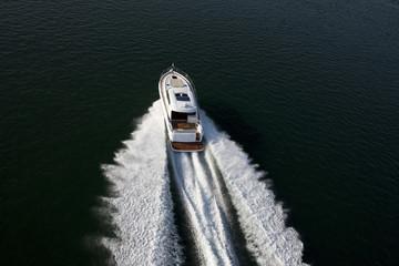 A fast speedboat sailing in a sea