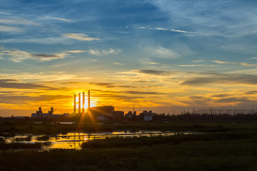 Power plant during sunset