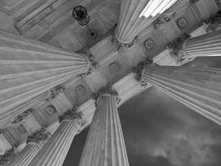 US Supreme Court Columns and Storm in Black and White