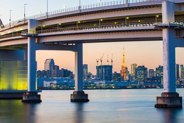The twilight of Rainbow Bridge in Tokyo, Japan