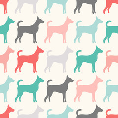 Animal seamless  pattern of dog silhouettes.