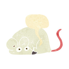 cartoon white mouse with speech bubble
