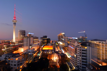 Motion blur background of Auckland financial center skyline at d