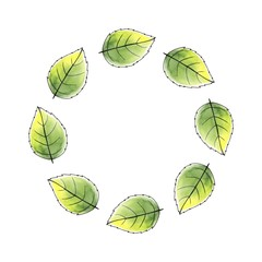 Just leaves. Round frame. Watercolor background 1