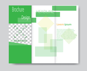 Vector brochure template design with green elements. EPS 10