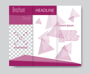 Vector brochure template design with purple elements. EPS 10