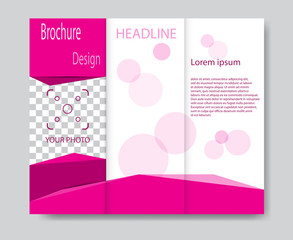 Vector brochure template design with pink elements. EPS 10