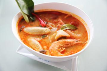 Thai traditional spicy prawn soup , Tom yum kung