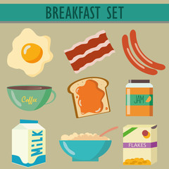 set icons with breakfast