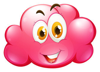 Cute face on pink cloud